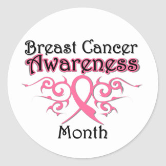 Breast Cancer Awareness Month Tribal Ribbon Sticker