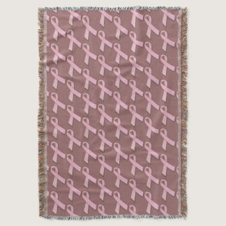 Breast Cancer Awareness Pattern Throw Blanket