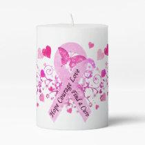 Breast Cancer Awareness Pillar Candle
