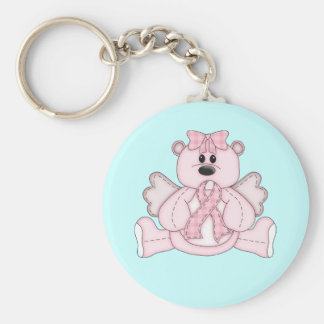 Breast Cancer Awareness Pink Bear Basic Round Button Keychain