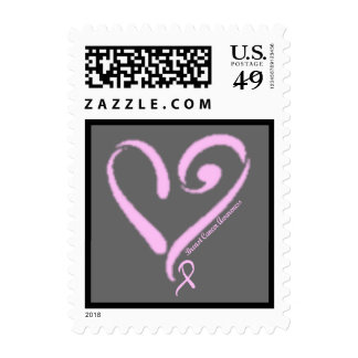 Breast Cancer Awareness, Pink Heart & Ribbon Postage Stamp