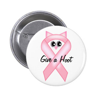 Breast Cancer Awareness - Pink Owl Ribbon Button