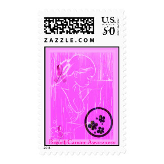 Breast Cancer Awareness - Pink Rain Cure Postage