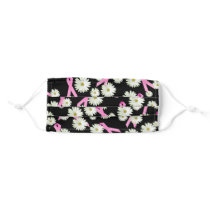 Breast cancer awareness pink ribbon and daisy adult cloth face mask