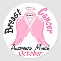 Breast Cancer Awareness - Pink Ribbon Angel Classic Round Sticker