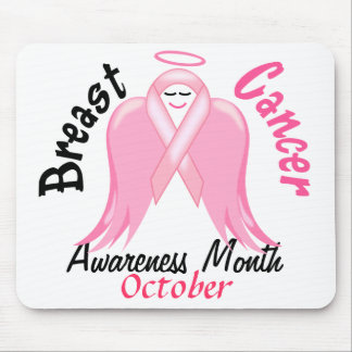 Breast Cancer Awareness - Pink Ribbon Angel Mouse Pad