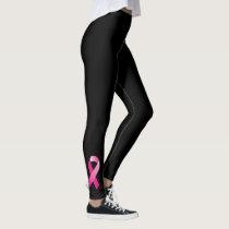 Breast Cancer Awareness Pink Ribbon Black Leggings