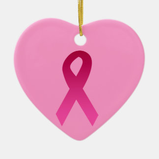 Breast cancer awareness pink ribbon ceramic ornament