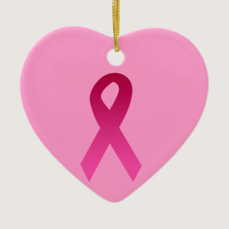 Breast cancer awareness pink ribbon ceramic ornament