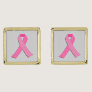 Breast cancer awareness pink ribbon cufflinks