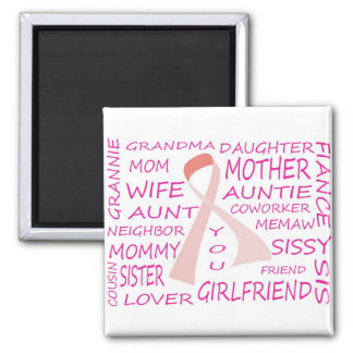 BREAST CANCER AWARENESS PINK RIBBON DESIGN MAGNET