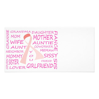 BREAST CANCER AWARENESS PINK RIBBON DESIGN PHOTO CARD
