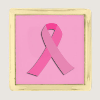 Breast cancer awareness pink ribbon gold finish lapel pin