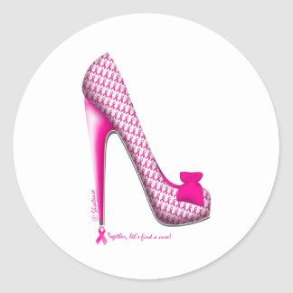 Breast Cancer Awareness Pink Ribbon Heel Classic Round Sticker