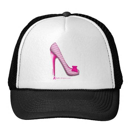 Breast Cancer Awareness Pink Ribbon Heel Trucker Hats