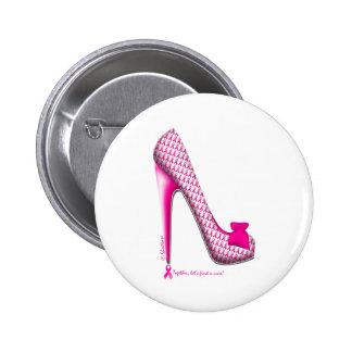 Breast Cancer Awareness Pink Ribbon Heel Pinback Button