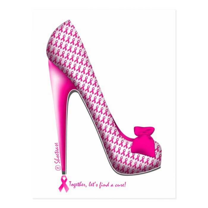 Breast Cancer Awareness Pink Ribbon Heel Postcard