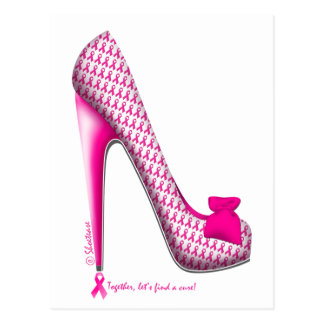 Breast Cancer Awareness Pink Ribbon Heel Postcards