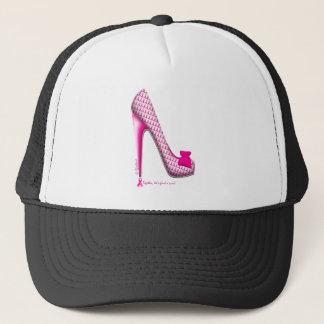 Breast Cancer Awareness Pink Ribbon Heel Trucker Hat