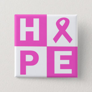 Breast Cancer Awareness Pink Ribbon Hope design Button