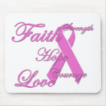 Breast cancer awareness pink ribbon mouse pad