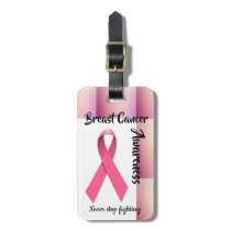 Breast Cancer Awareness Pink Ribbon Plaid Bag Tag