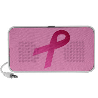 Breast cancer awareness pink ribbon laptop speakers