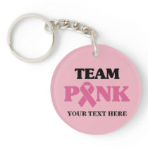 Breast Cancer Awareness Pink Ribbon Team Keychain