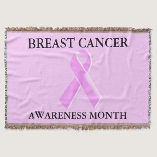 Breast cancer awareness pink ribbon throw