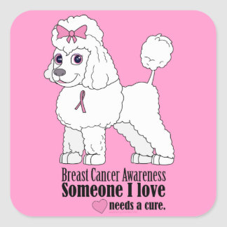 Breast Cancer Awareness: Poodle with Pink Ribbon Square Sticker