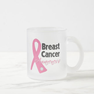 Breast Cancer Awareness Ribbon 10 Oz Frosted Glass Coffee Mug