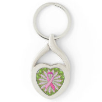 Breast Cancer Awareness Ribbon Metal Keychain