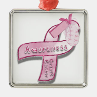 Breast Cancer awareness ribbon Metal Ornament