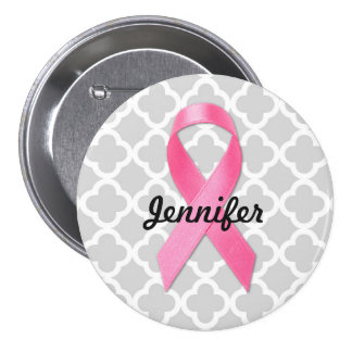 Breast Cancer Awareness Ribbon Personalized 3 Inch Round Button