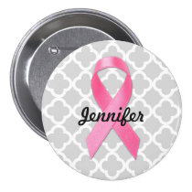 Breast Cancer Awareness Ribbon Personalized Button
