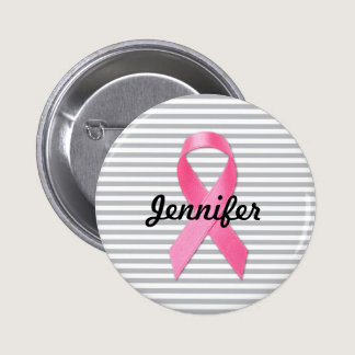 Breast Cancer Awareness Ribbon Personalized Pinback Button