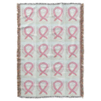 Breast Cancer Awareness Ribbon Throw Blanket