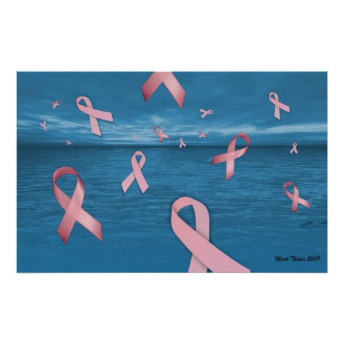 Breast Cancer Awareness Ribbons In the Sky Poster zazzle_print