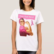 Breast Cancer awareness Rosie the Riveter pink T-Shirt