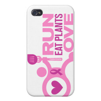 Breast Cancer Awareness - Run+Eat Plants+Love iPhone 4/4S Case