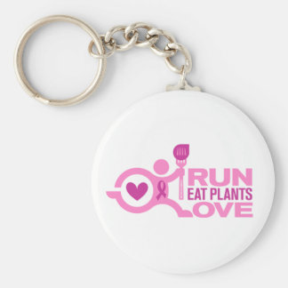 Breast Cancer Awareness - Run+Eat Plants+Love Keychain