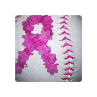 Breast Cancer Awareness Softball Stretched Canvas Prints
