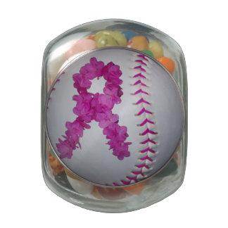 Breast Cancer Awareness Softball Glass Jar