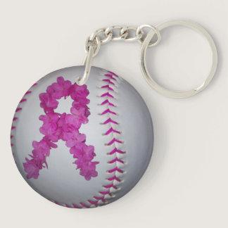 Breast Cancer Awareness Softball Keychain