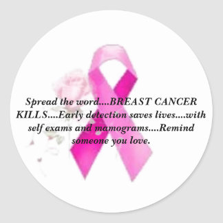"""Breast Cancer Awareness """"Spread the Word"""" Classic Round Sticker"""