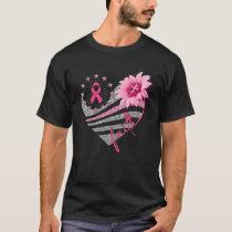 Breast Cancer Awareness Sun Flower Faith Bling Bli T-Shirt