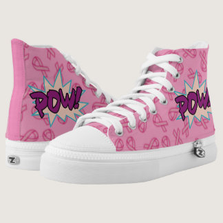 Breast Cancer Awareness Super Hero Ribbons High-Top Sneakers