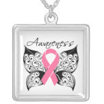 Breast Cancer Awareness Tattoo Butterfly Pendant