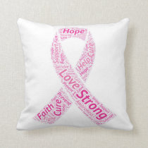 "Breast Cancer Awareness Throw Pillow 16"" x 16"""
