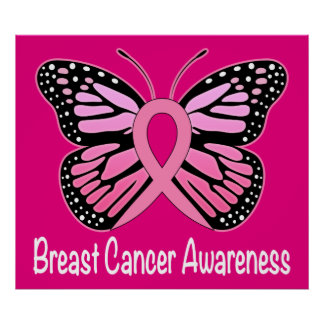 Breast Cancer Awareness with Butterfly Ribbon Poster